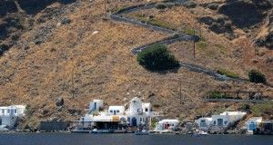 The island of Thirassia in Santorini