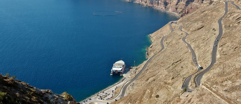 Road to the port of Athinios, Santorini