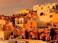 The city of Fira at dusk on the island of Santorini