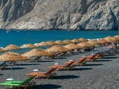 The beach of Kamari on the Greek island of Santorini