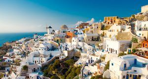 Summer view of the town of Oia in Santorini