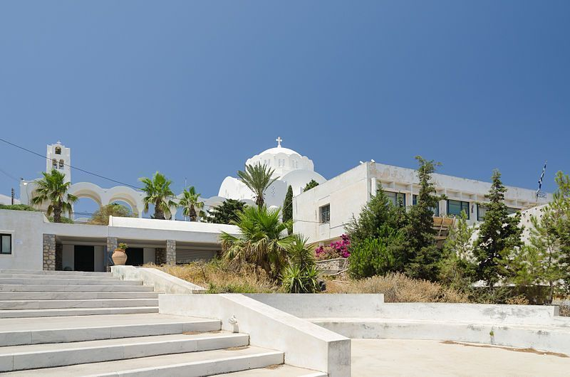 Inngang til Thera Prehistoric Museum i Santorini