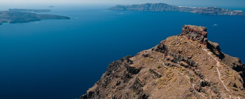 The Skaros Rock on the island of Santorini