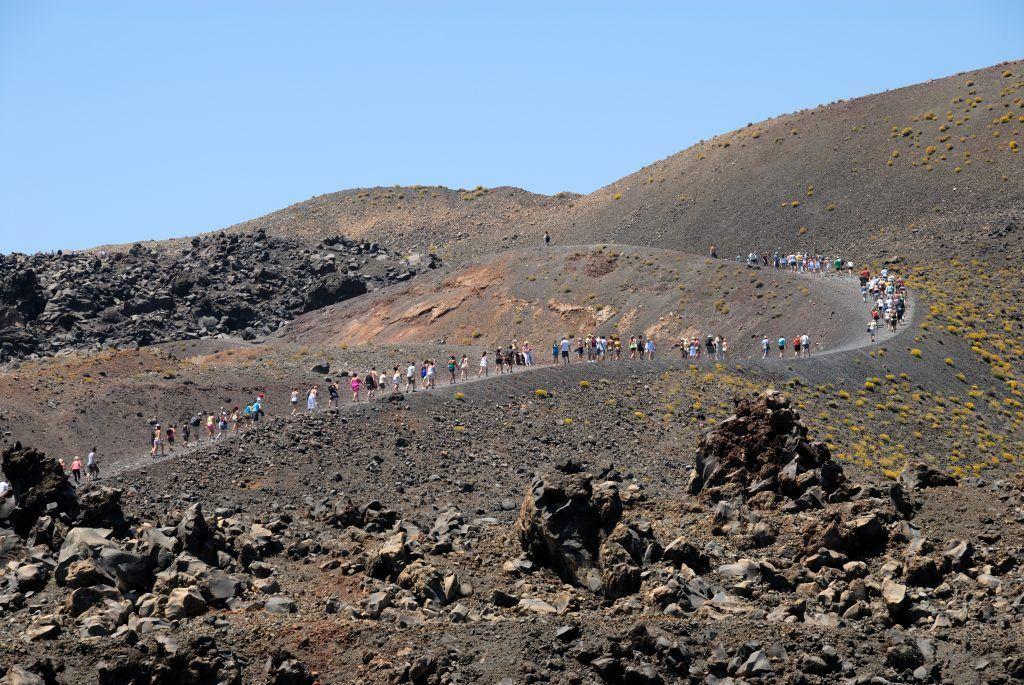Excursión por el volcán, Santorini