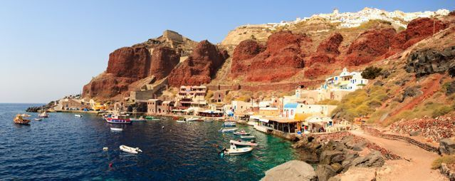 The port of Oia on the island of Santorini