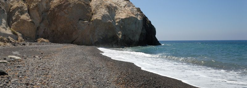 The beach of Perivolos on the island of Santorini