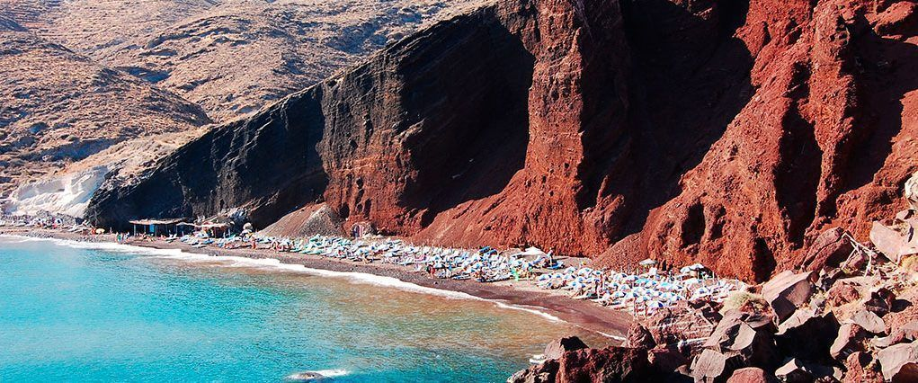 The red beach of Santorini in Greece