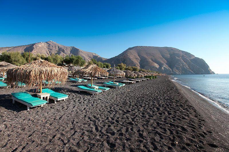 The beach of Perivolos on the island of Santorini