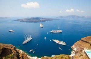 Cruises moored on the island of Santorini