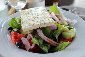 Greek salad with feta cheese (Santorini)
